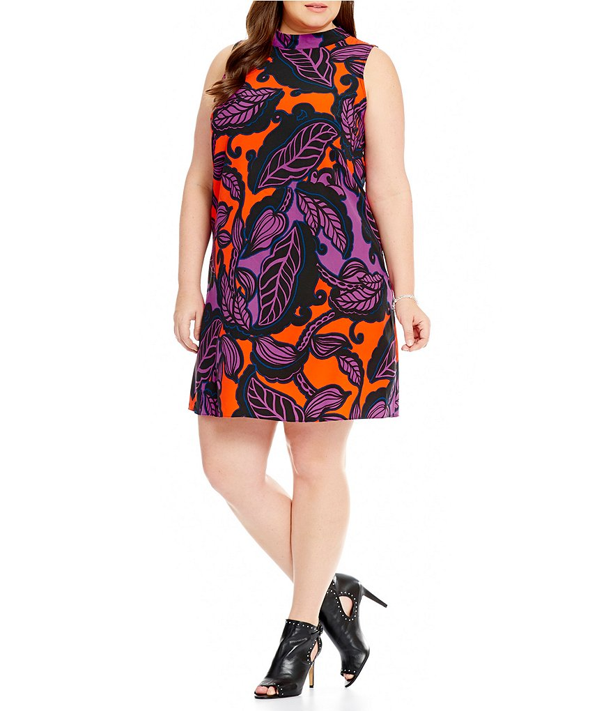Gibson & Latimer Plus Printed Mock Neck Dress