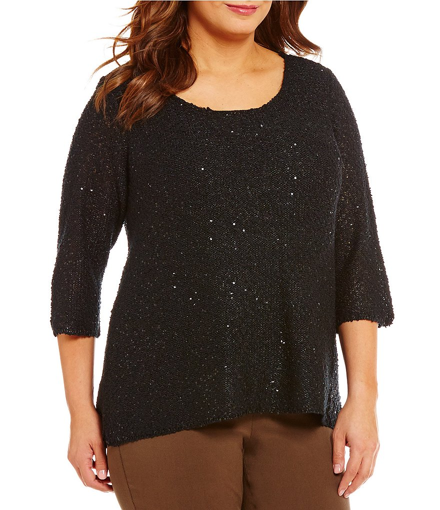Gibson & Latimer Plus Round Neck 3/4 Sleeve Sequin Sweater
