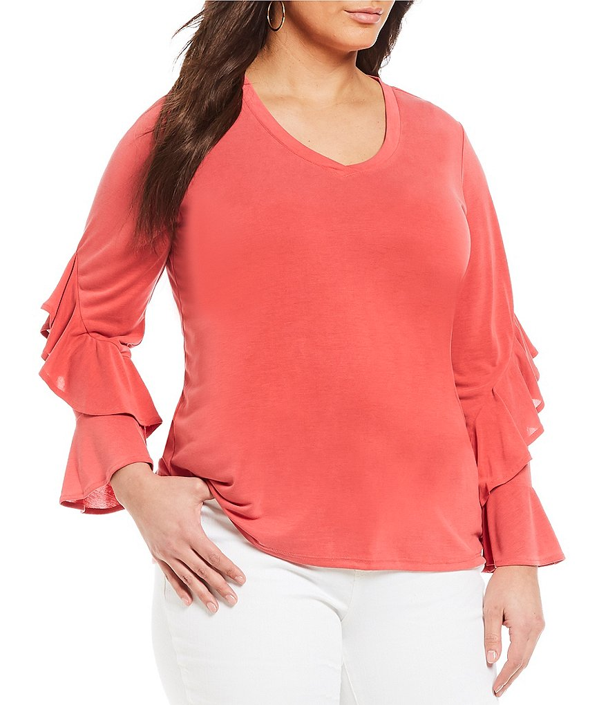 Gibson & Latimer Plus Ruffle Sleeve Knit Top