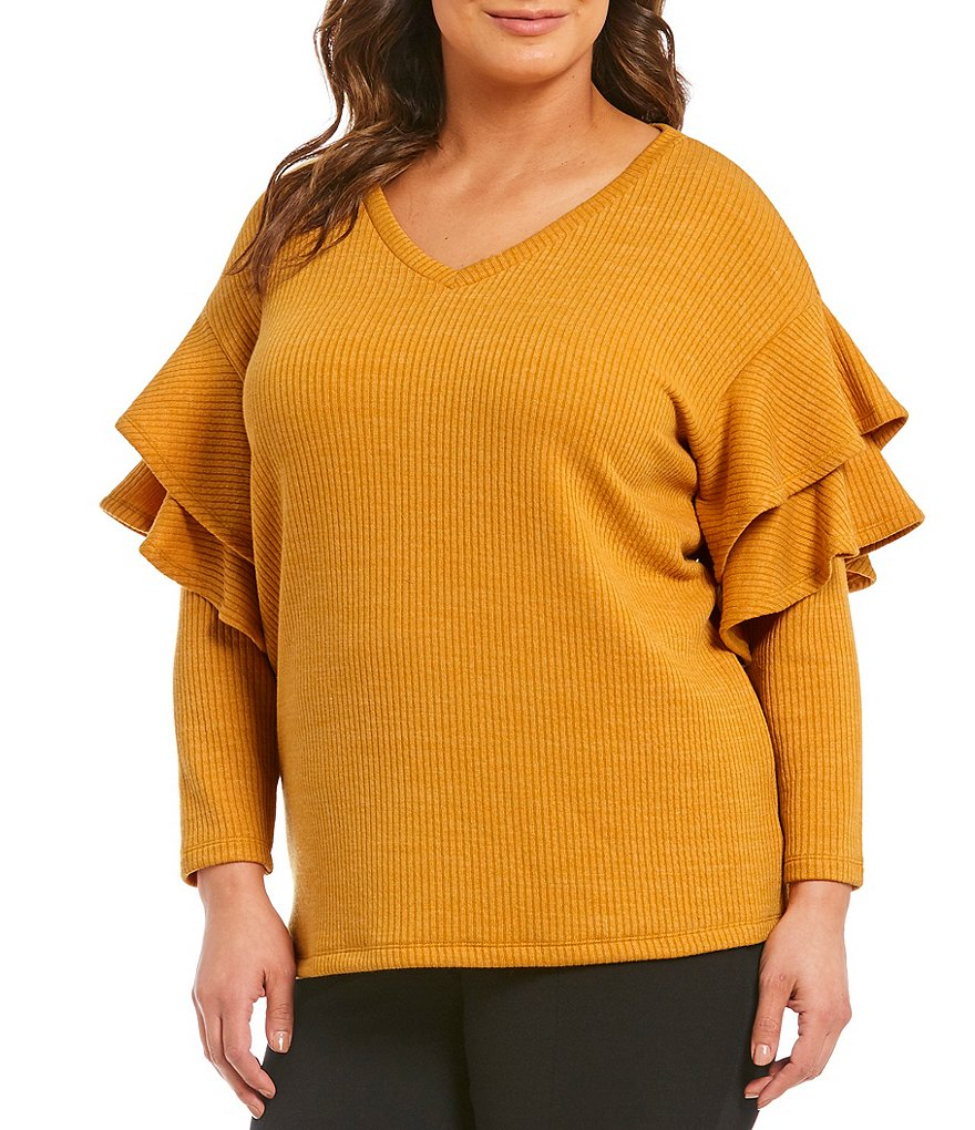 Gibson & Latimer Plus Ruffle Sleeve Sweater