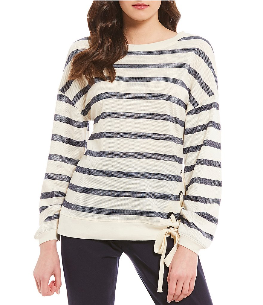 Gibson & Latimer Striped Tie Detail Grommet Sweatshirt