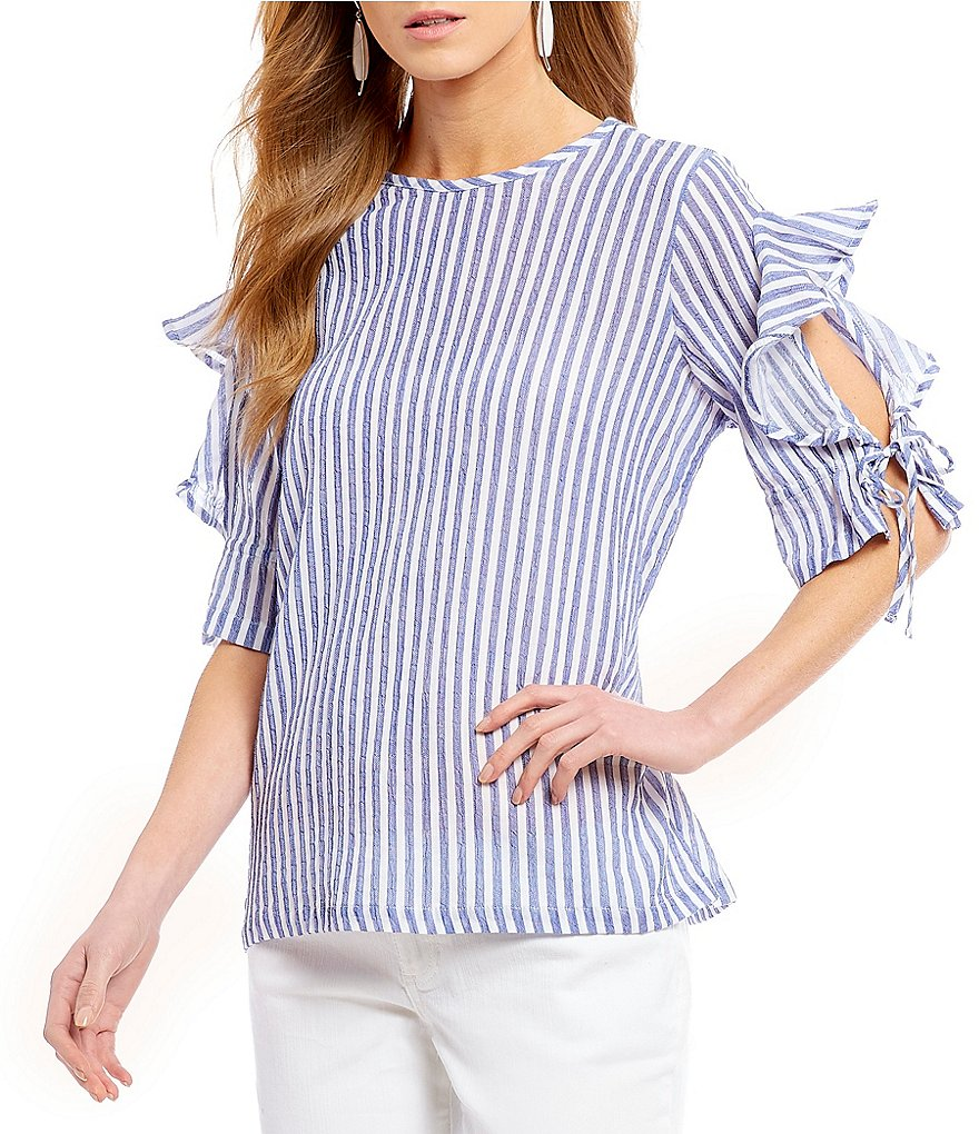 Gibson & Latimer Striped Ruffle Tie Sleeve Blouse
