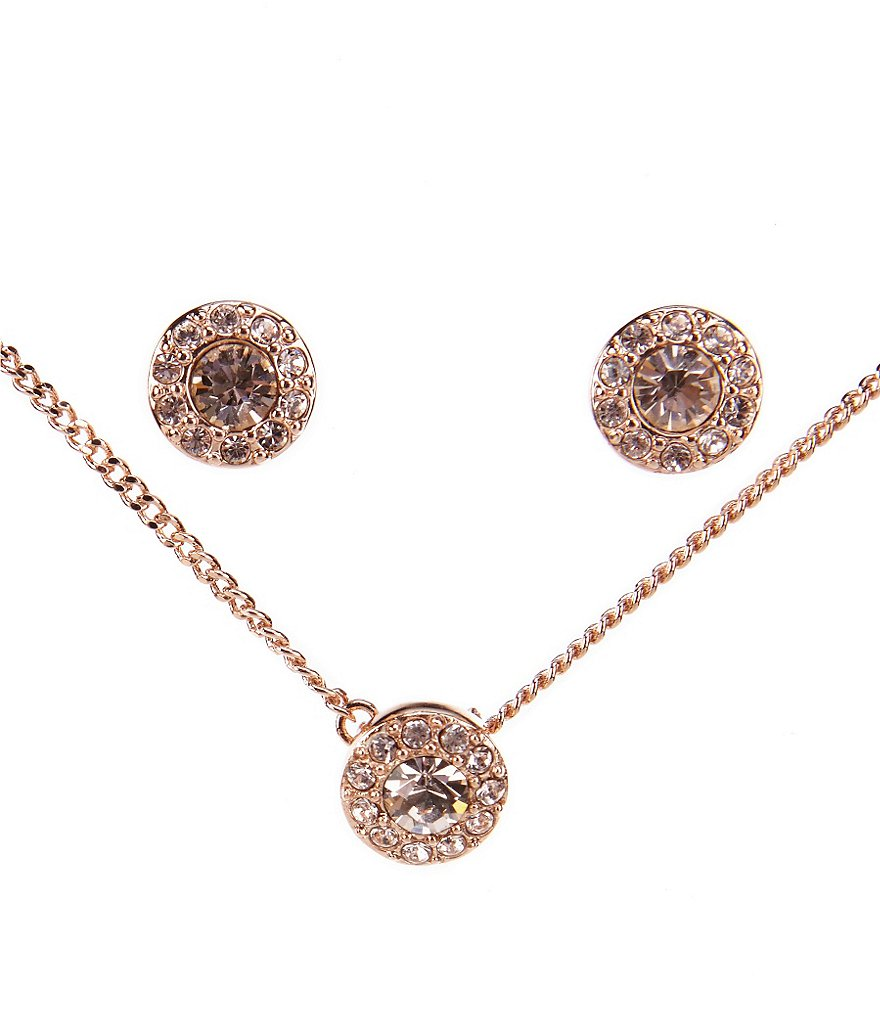 Givenchy Rose Gold & Pavé Necklace & Earrings Set