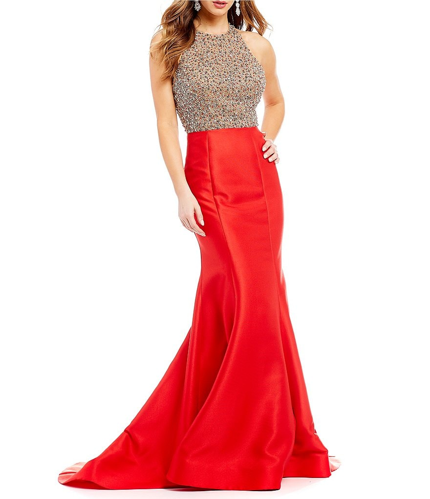 Glamour by Terani Couture Beaded Bodice Mikado Long Dress