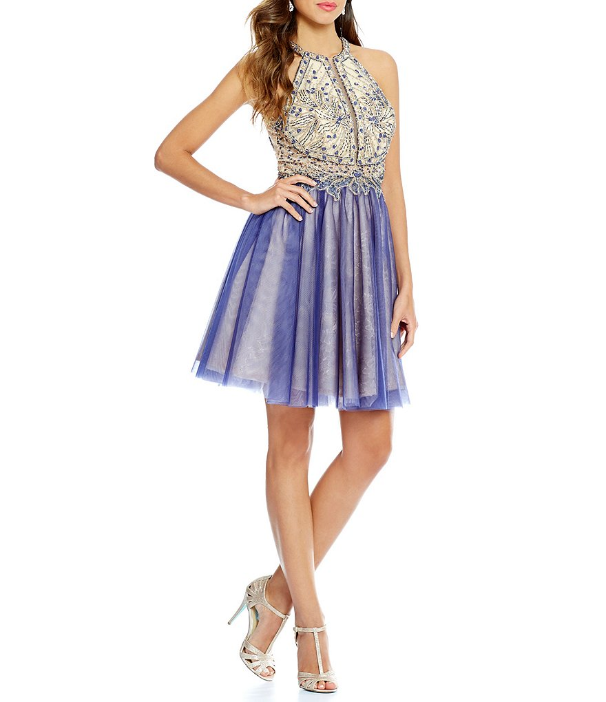 Glamour by Terani Couture High Neck Beaded Halter Bodice Fit-and-Flare Party Dress