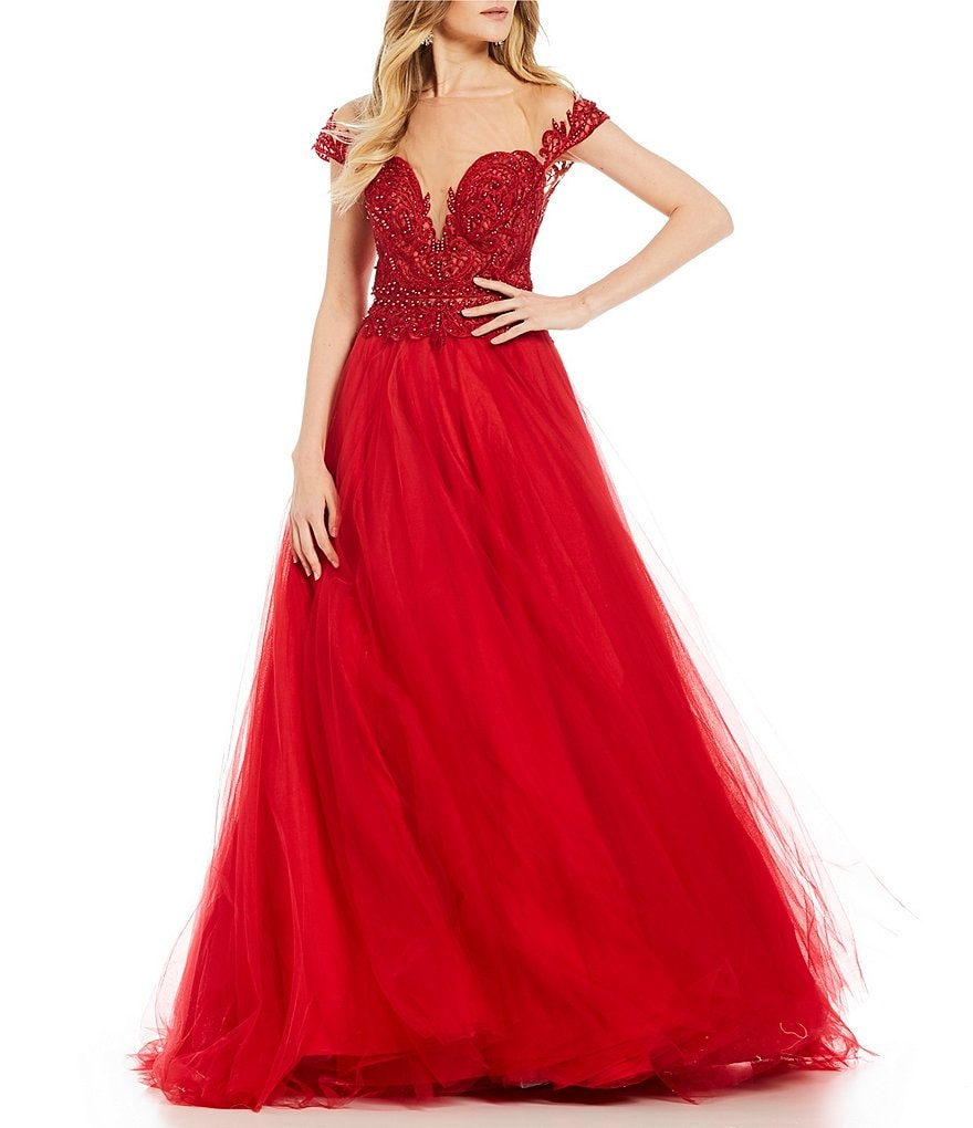 9cc622a42ee Glamour By Terani Couture Short Sleeve Ball Gown Juniors - Data ...