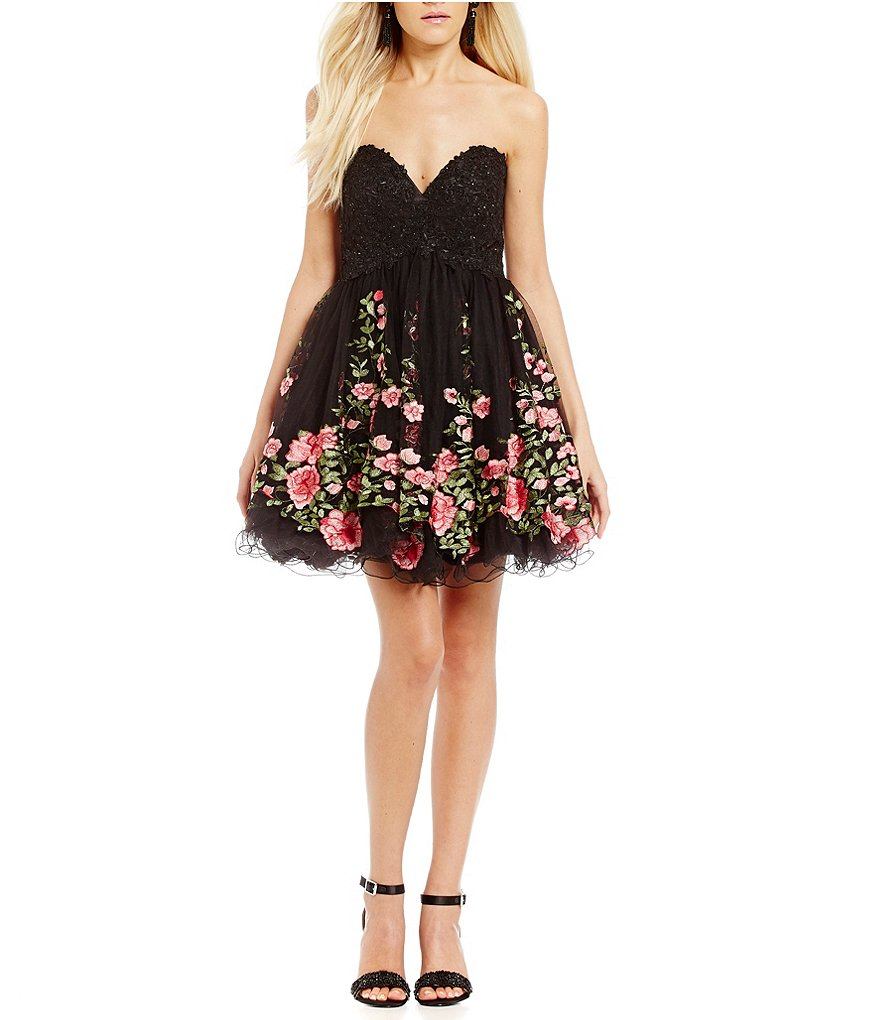 Glamour by Terani Couture Floral Embroidered Fit-And-Flare Dress