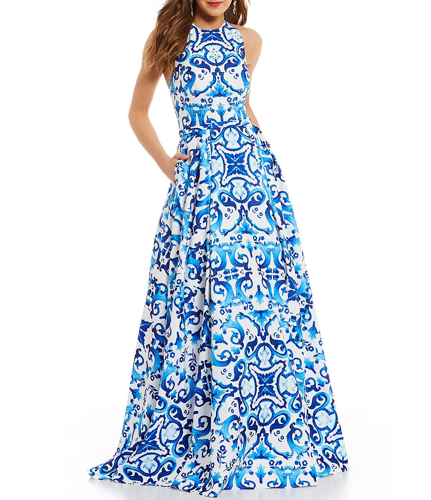 Glamour by Terani Couture Halter Neckline Scroll-Print Ball Gown