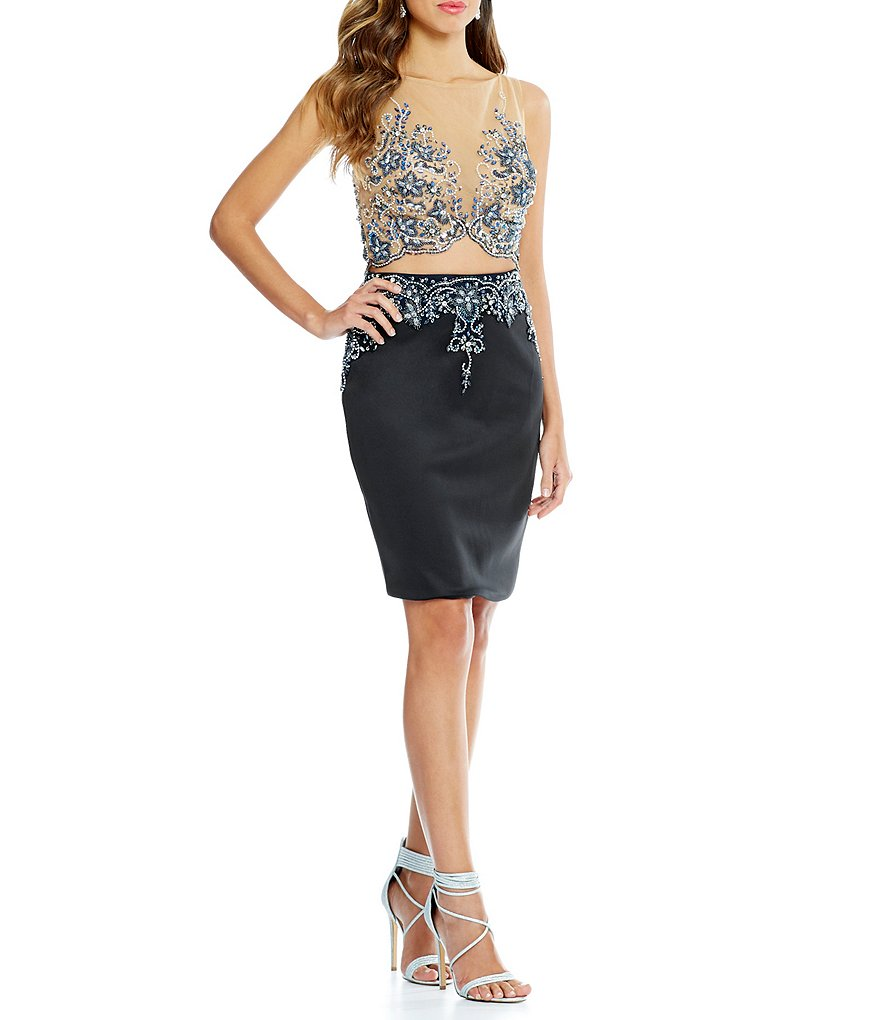 Glamour by Terani Couture Illusion Beaded-Bodice Two-Piece Dress