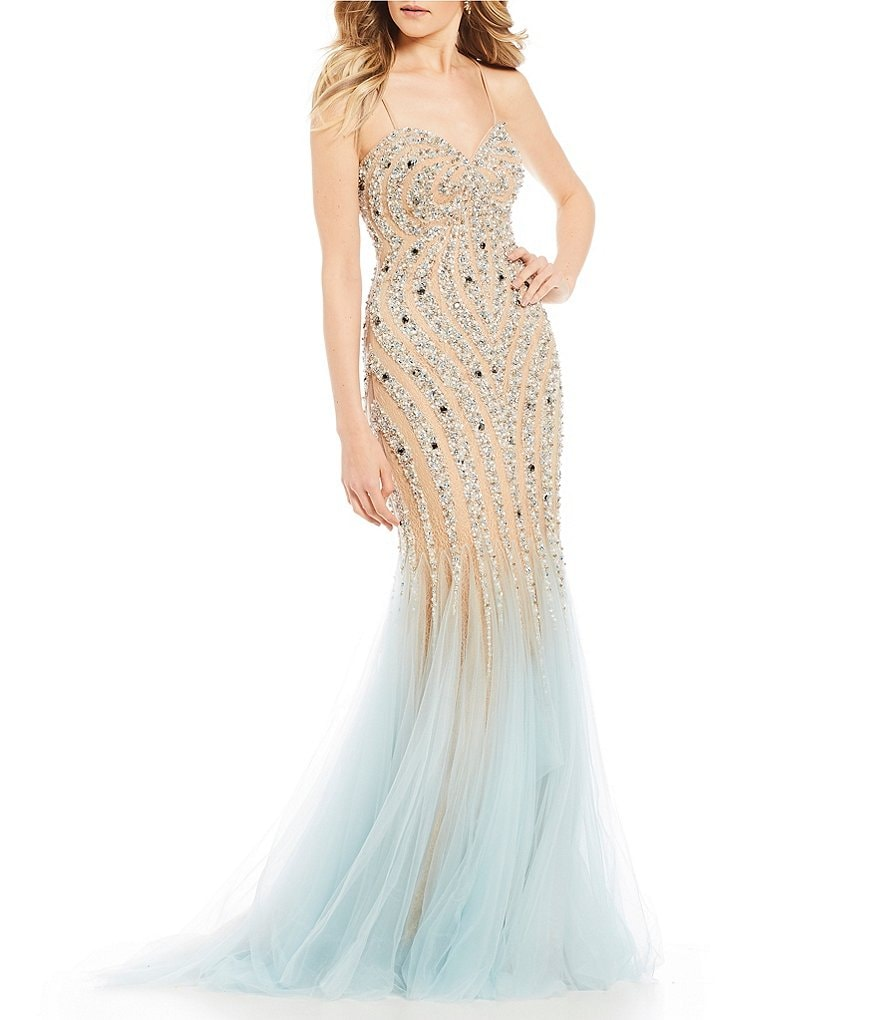 Glamour by Terani Couture Strapless Beaded Trumpet Dress