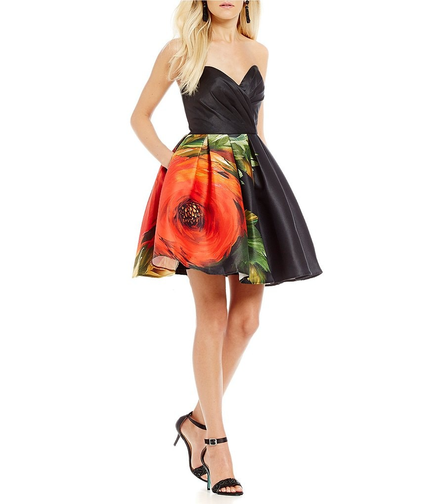 Glamour by Terani Couture Strapless Floral Fit-And-Flare Dress