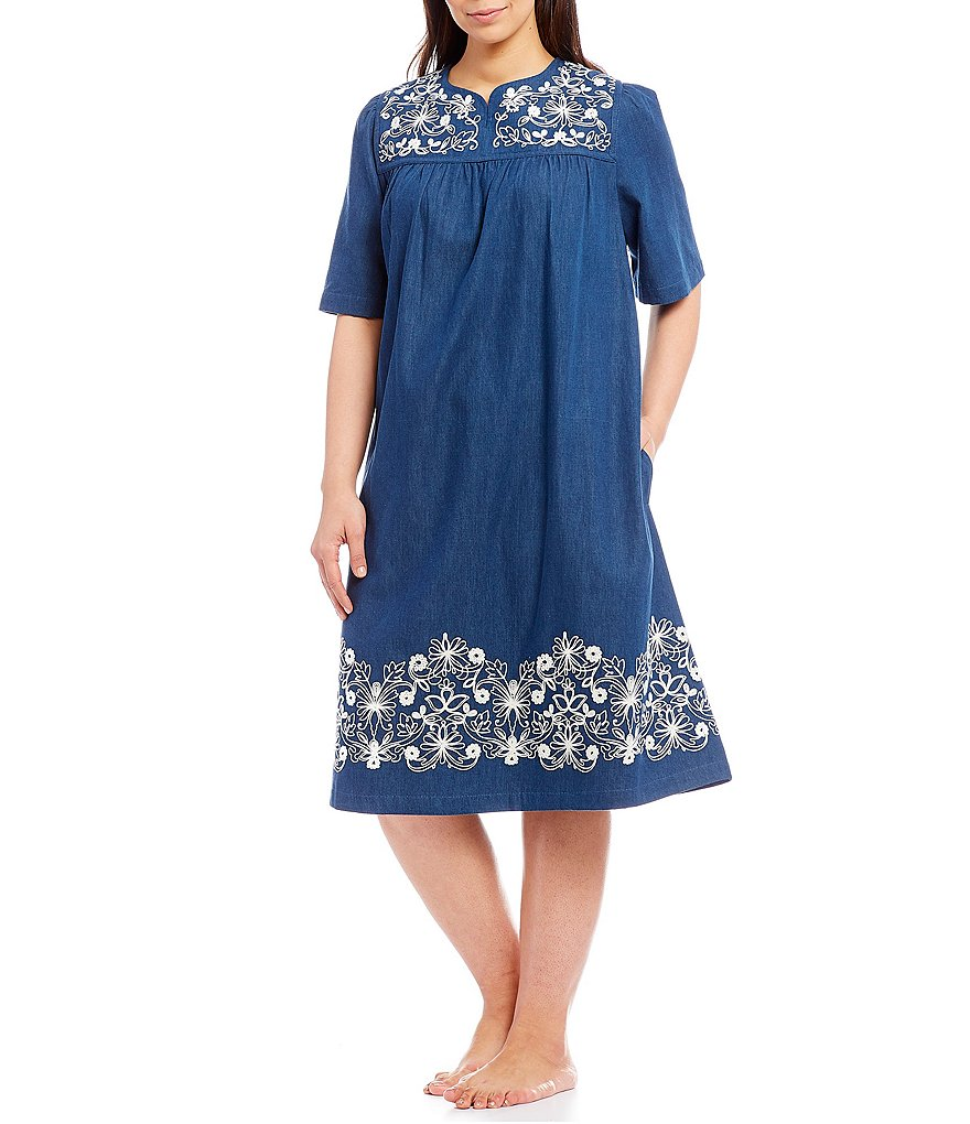 Go Softly Patio Plus Embroidered Denim Patio Dress