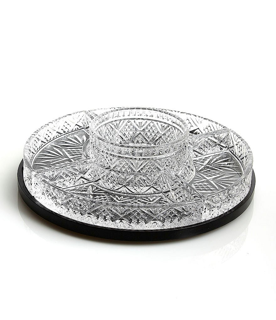 godinger dublin 5section crystal lazy susan