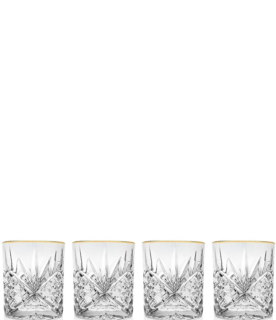 Godinger Dublin Gold-Rimmed Handcrafted Crystal Double Old Fashioned Glasses, Set of 4