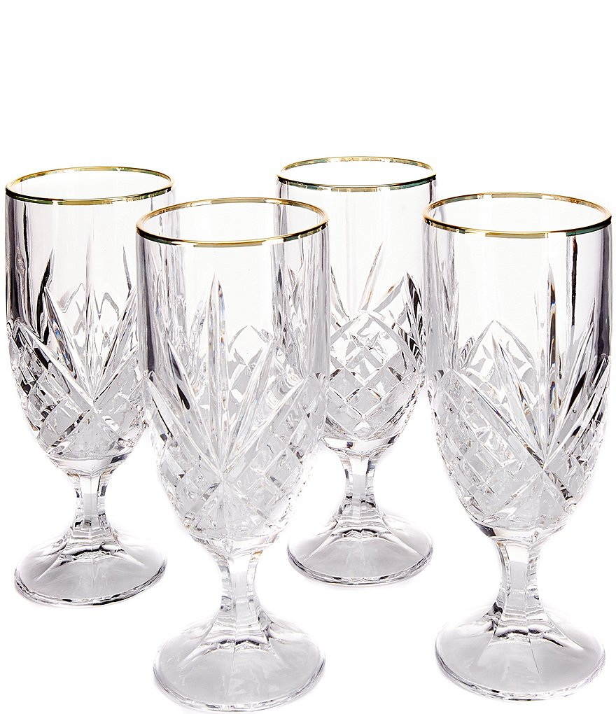Godinger Dublin Gold-Rimmed Handcrafted Crystal Iced Beverage Glasses, Set of 4