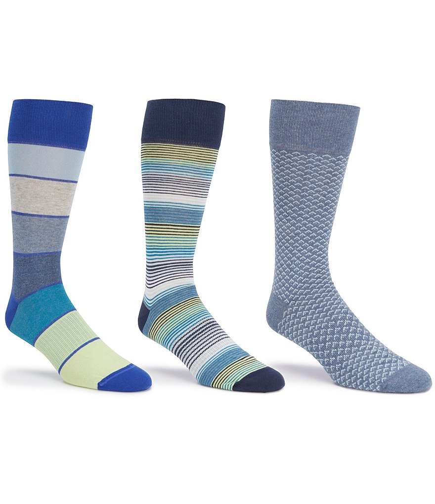 Gold Label Roundtree & Yorke Big & Tall Mixed Media Crew Dress Socks 3-Pack