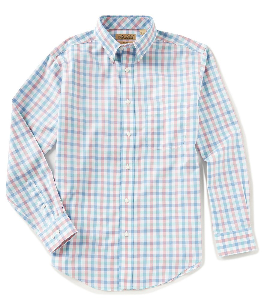 Gold Label Roundtree & Yorke Big & Tall Long-Sleeve Gingham Sportshirt