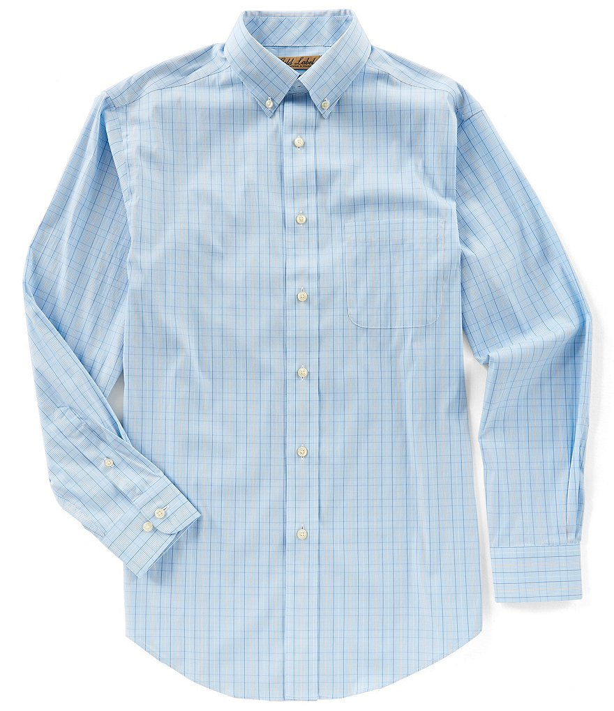 Gold Label Roundtree & Yorke Big & Tall Long-Sleeve Windowpane Sportshirt