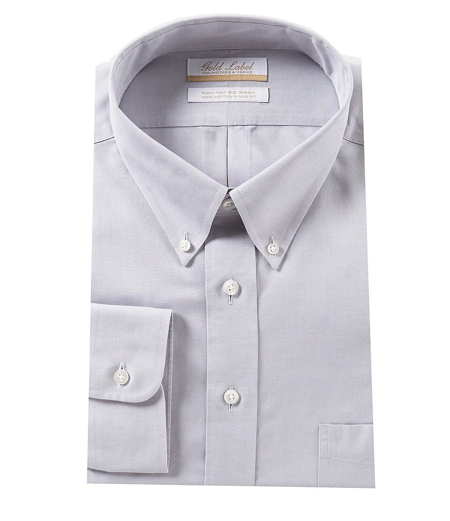 Gold Label Roundtree & Yorke Big & Tall Non-Iron Fitted Button-Down Collar Solid Dress Shirt