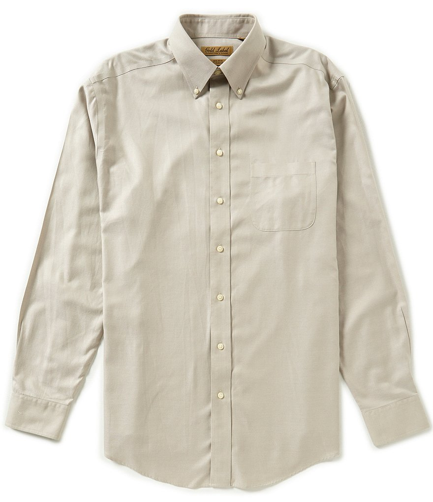 Gold Label Roundtree & Yorke Big & Tall Non-Iron Long-Sleeve Solid Dobby Sportshirt