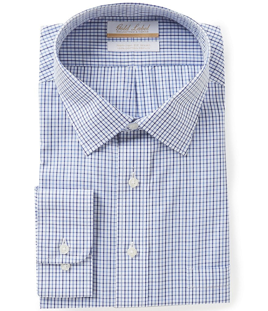 Gold Label Roundtree & Yorke Big & Tall Non-Iron Regular Full-Fit Spread-Collar Checked Dress Shirt
