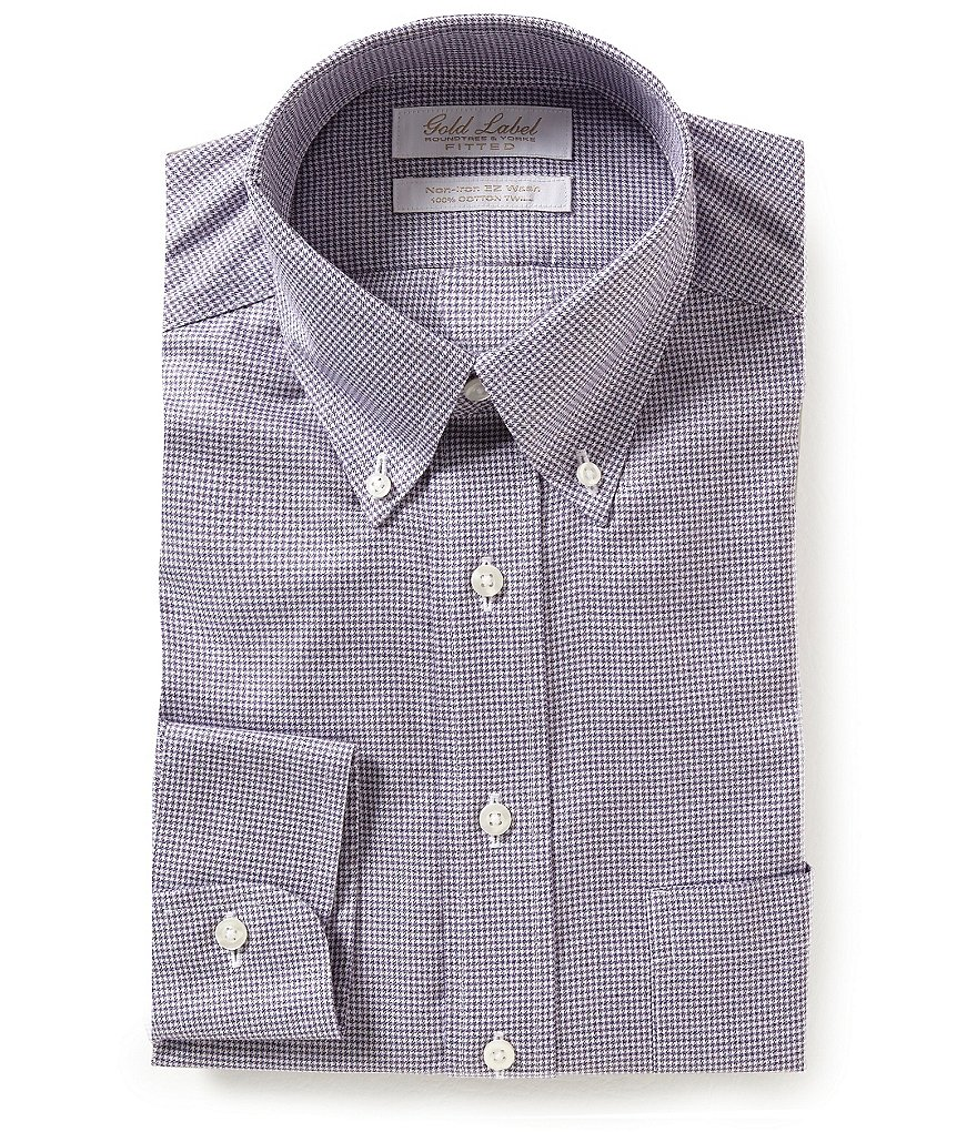 Gold Label Roundtree & Yorke Houndstooth Classic Fitted Non-Iron Twill Dress Shirt