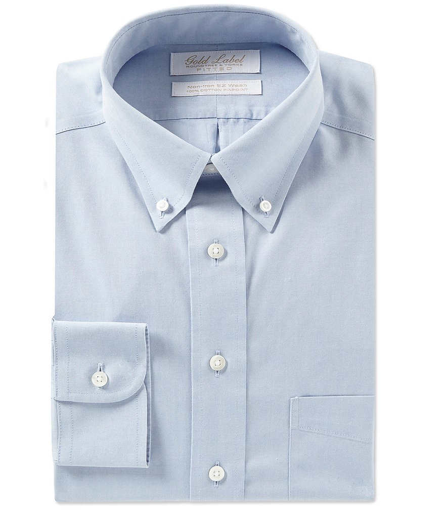Gold Label Roundtree & Yorke Non-Iron Fitted Classic-Fit Button-Down Collar Solid Dress Shirt