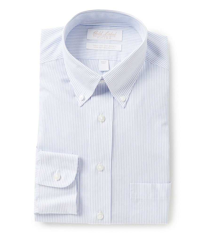 Gold Label Roundtree & Yorke Non-Iron Fitted Classic-Fit Button-Down Collar Striped Dress Shirt