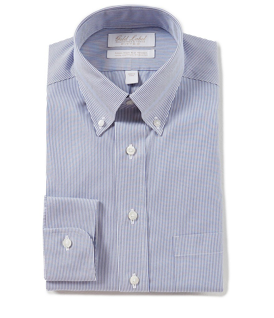 Gold label roundtree yorke non iron fitted classic fit for Dress shirt collar fit