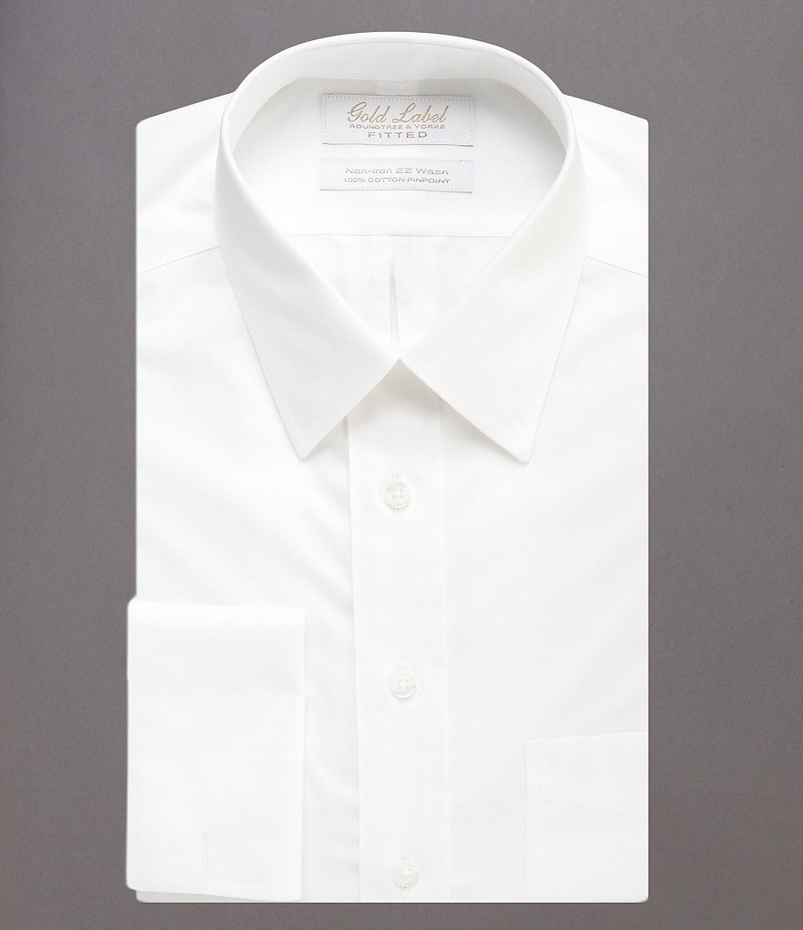 Gold Label Roundtree & Yorke Solid Non-Iron Fitted Point-Collar Dress Shirt with French Cuffs
