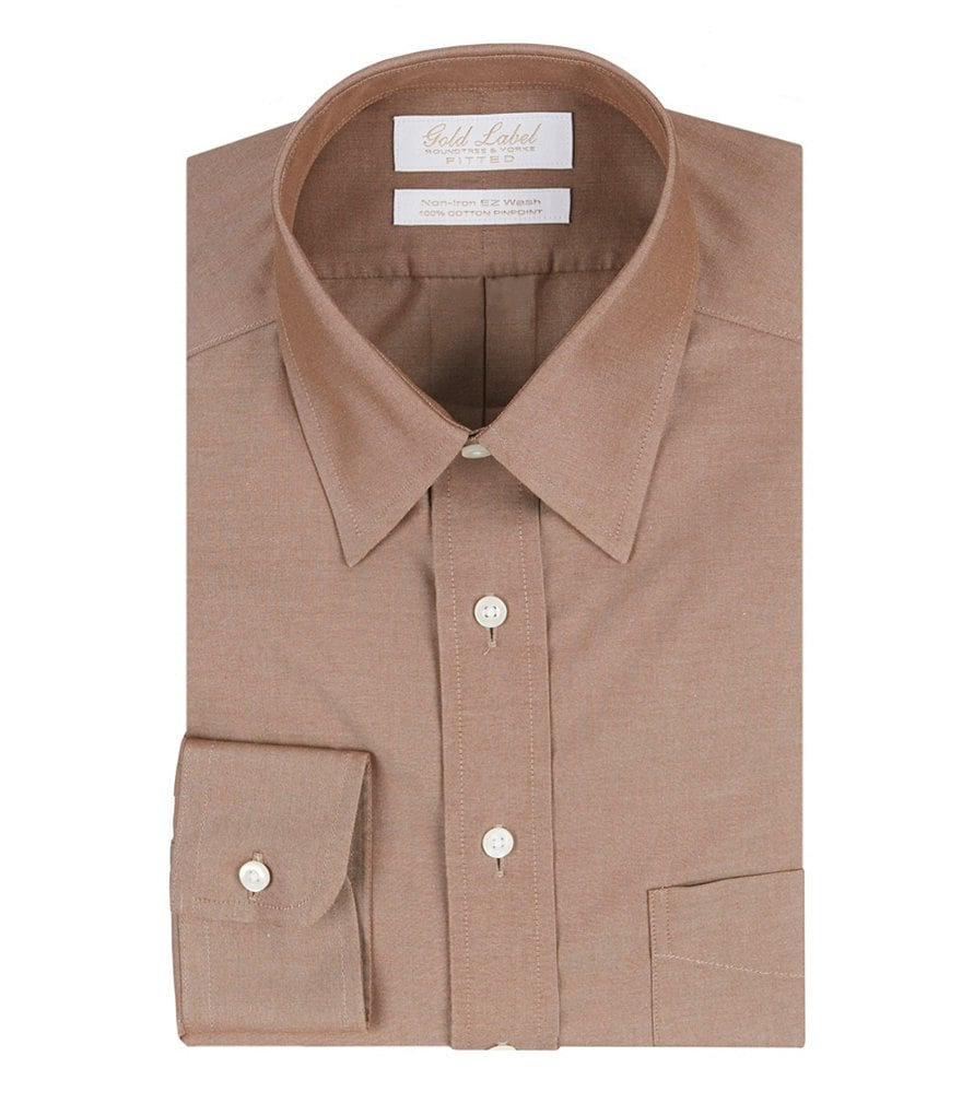 Gold Label Roundtree & Yorke Non-Iron Fitted Solid Point-Collar Dress Shirt
