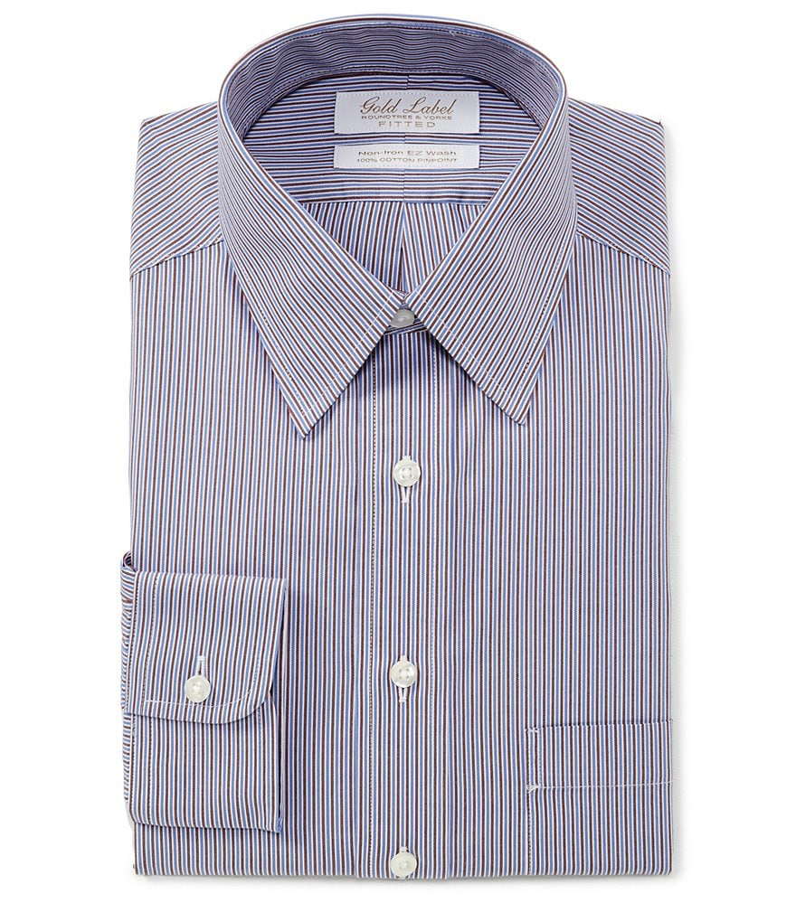 Gold Label Roundtree & Yorke Non-Iron Fitted Point Collar Striped Dress Shirt