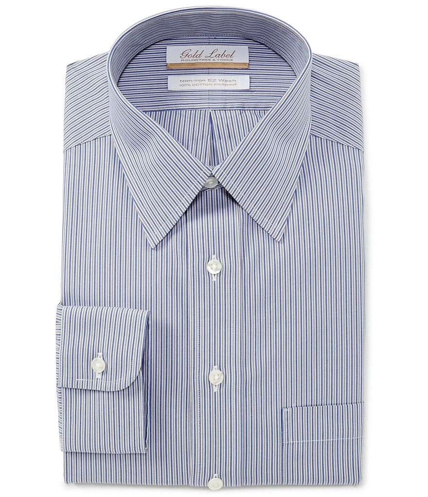Gold Label Roundtree & Yorke Non-Iron Full Fit Point Collar Striped Dress Shirt