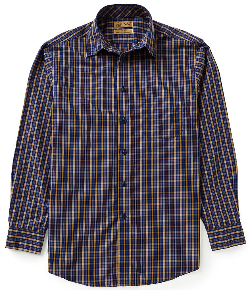 Gold Label Roundtree & Yorke Non-Iron Long-Sleeve Multi-Check Sportshirt