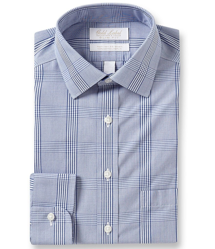 Gold Label Roundtree & Yorke Non-Iron Slim Fit Plaid Dress Shirt