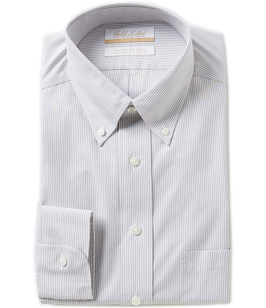 Gold Label Roundtree & Yorke Striped Non-Iron Regular Full-Fit Button-Down Collar Dress Shirt