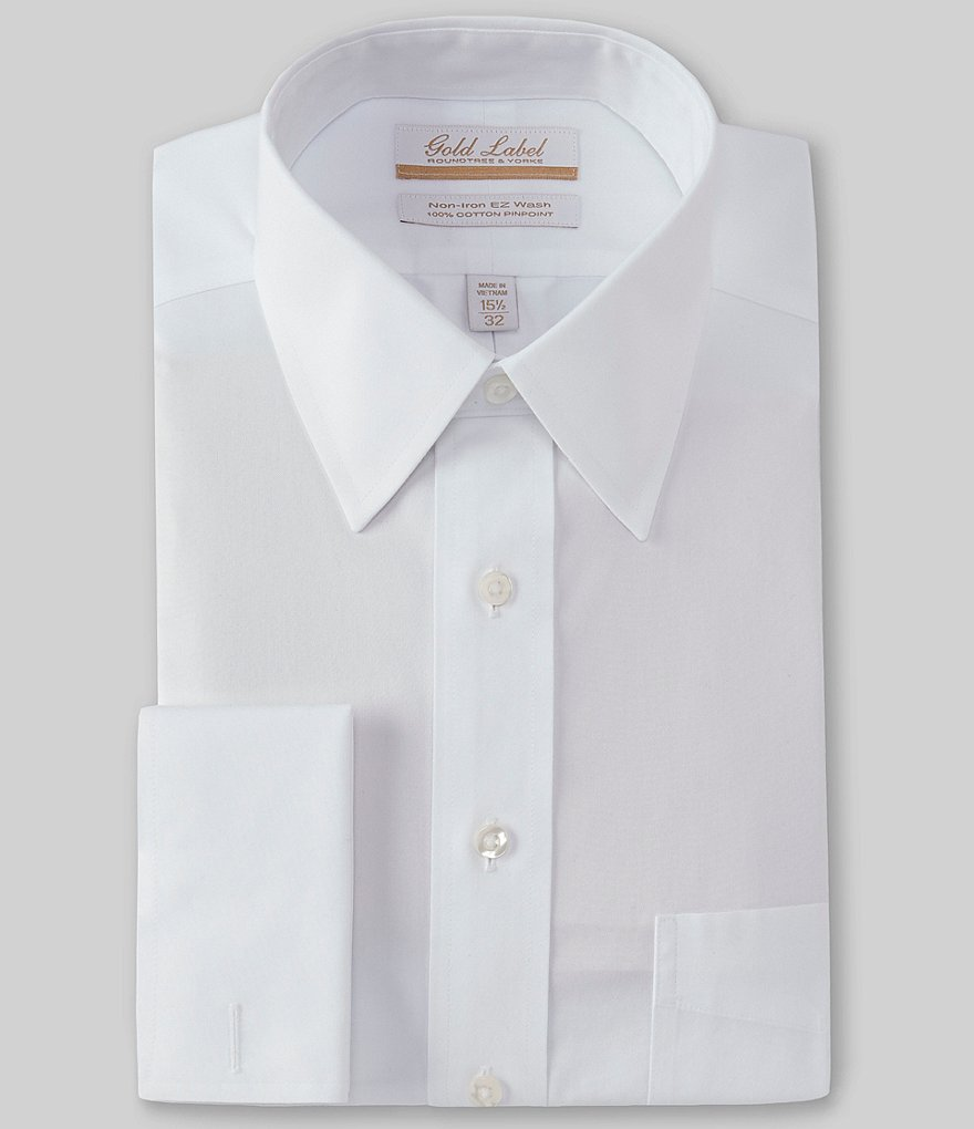 Gold Label Roundtree & Yorke Non-Iron Full-Fit Point Collar Solid Dress Shirt with French Cuffs