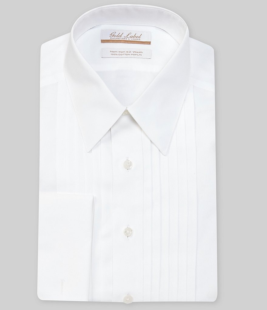 Gold Label Roundtree & Yorke Non-Iron Full-Fit Point-Collar Solid Tuxedo Dress Shirt