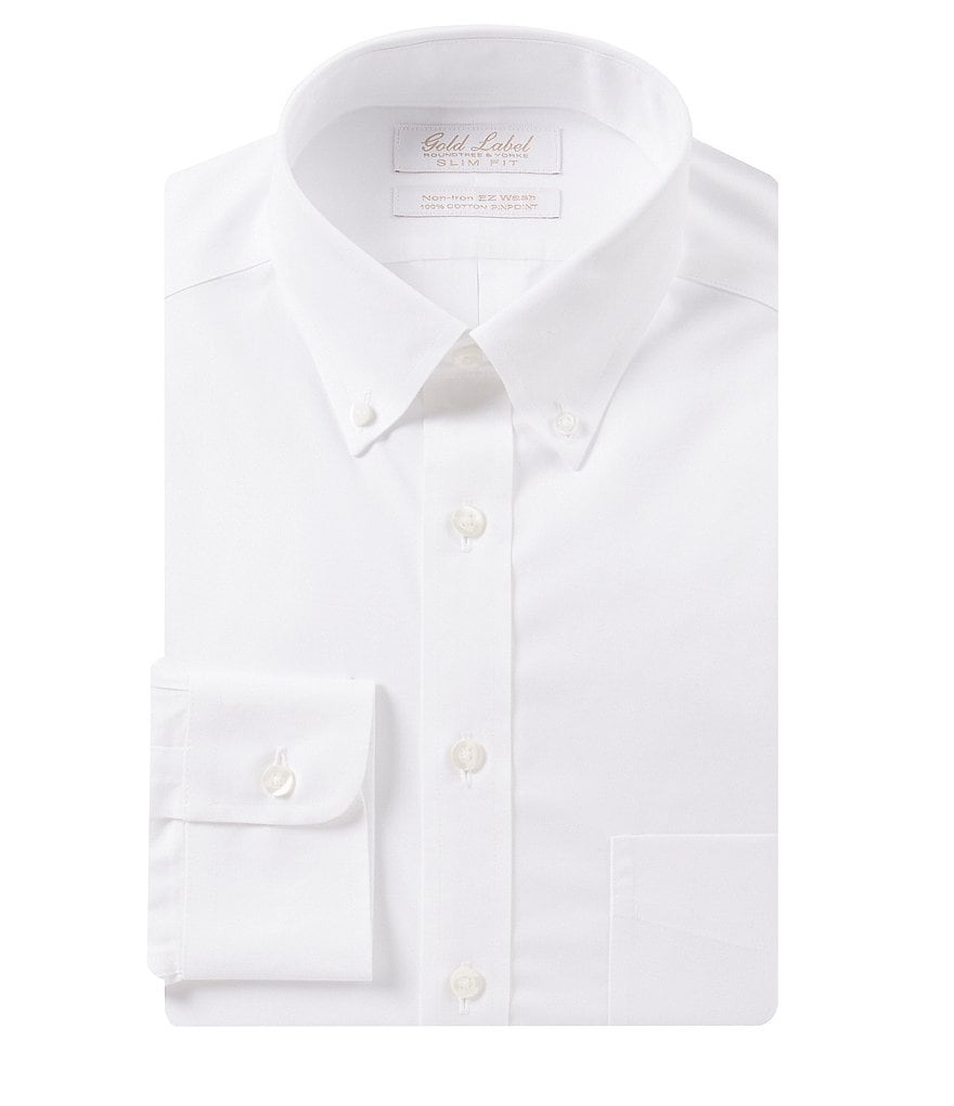Gold Label Roundtree & Yorke Non-Iron Slim-Fit Button-Down Collar Solid Dress Shirt