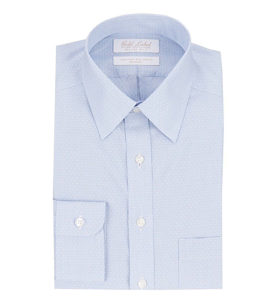Gold label roundtree yorke non iron stretch slim fit for No iron slim fit dress shirts