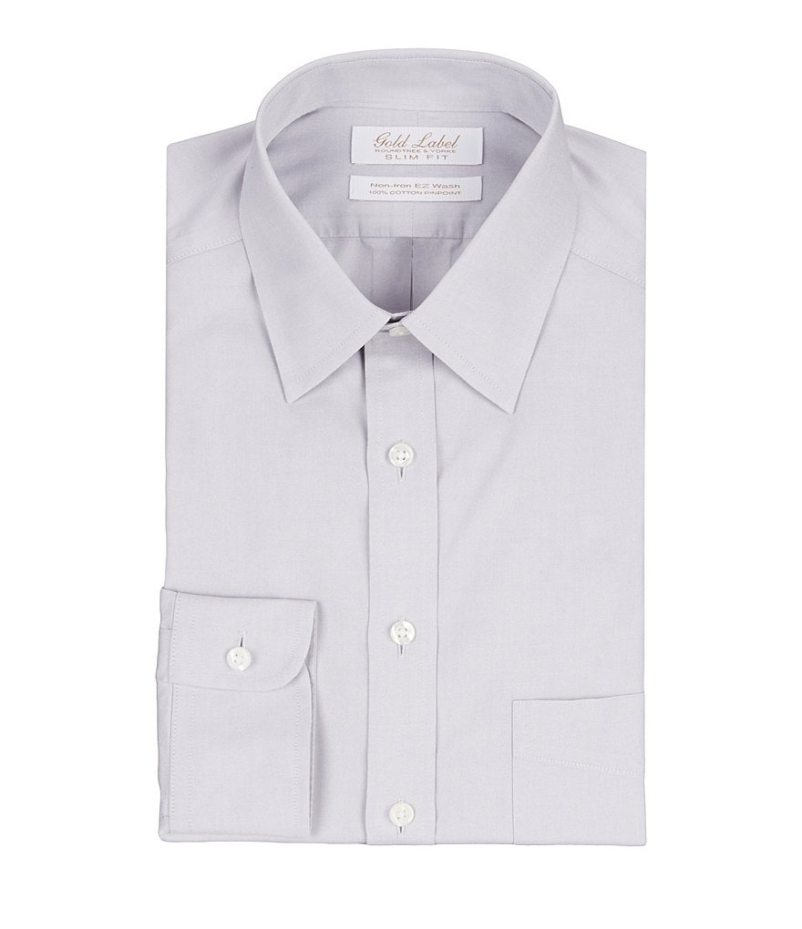 Gold Label Roundtree & Yorke Non-Iron Slim-Fit Point-Collar Solid Dress Shirt