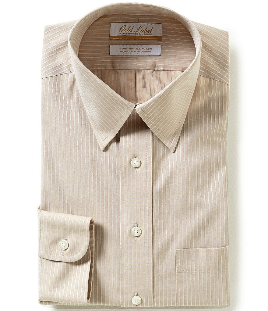 Gold Label Roundtree & Yorke Regular Full-Fit Point Collar Striped Dress Shirt