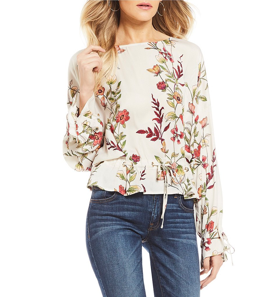 Guess Allyson Floral Printed Tie Long Sleeve Top
