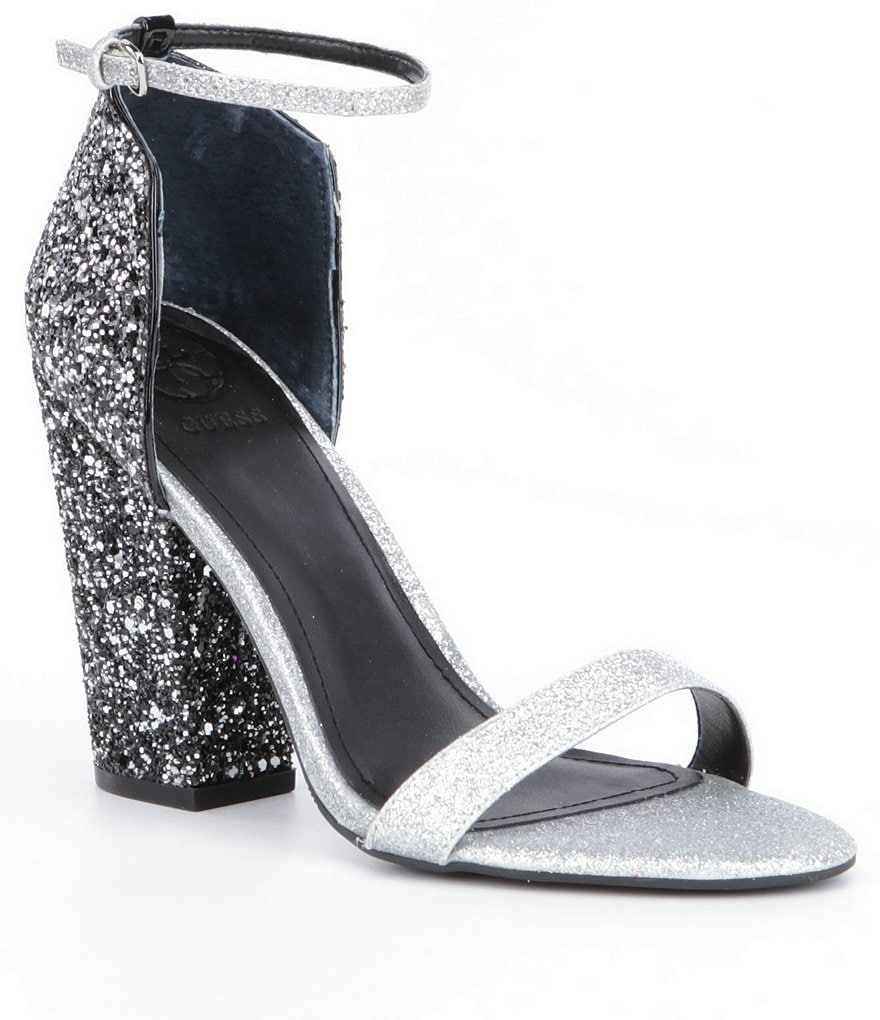 Guess Bam Bam3 Glitter Block-Heel Dress Sandals