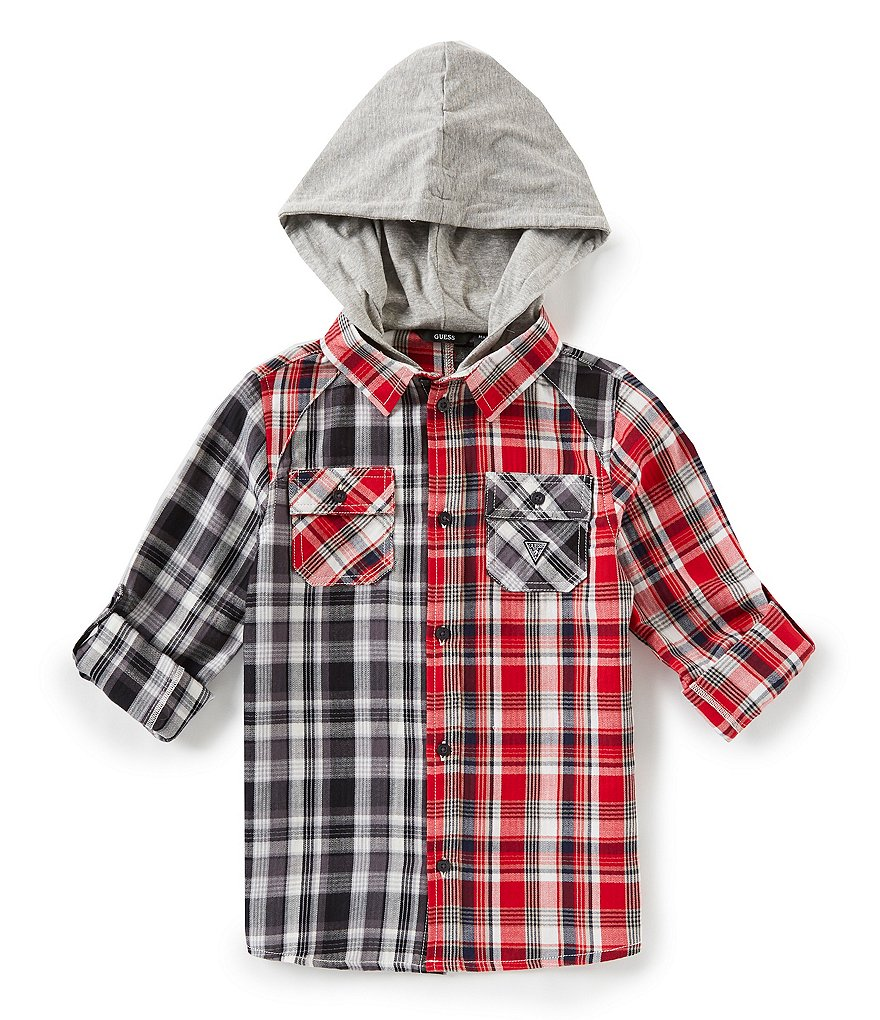 Guess Big Boys 8-18 Hooded Plaid Button Down Shirt