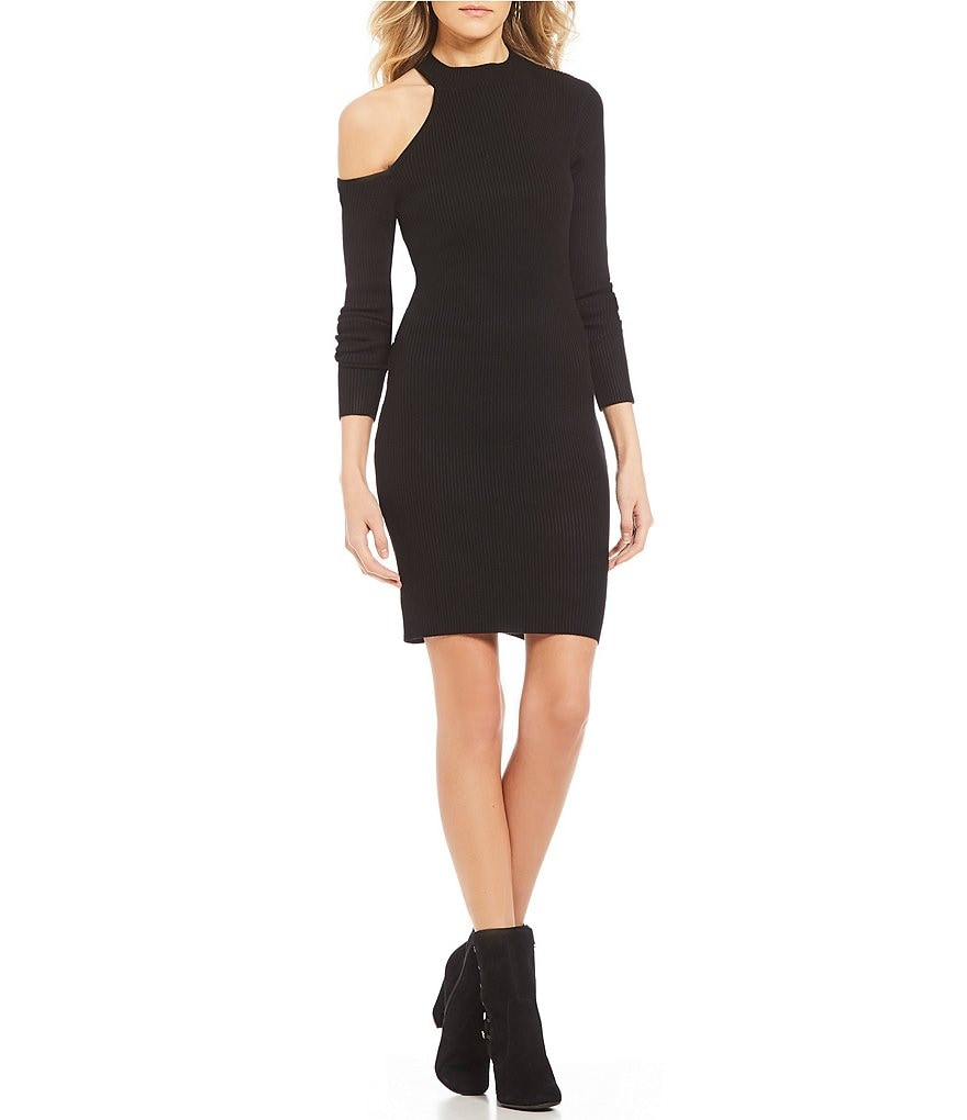 Guess Brittani Mock Neck Shoulder Cut Out Long Sleeve Sheath Sweater Dress