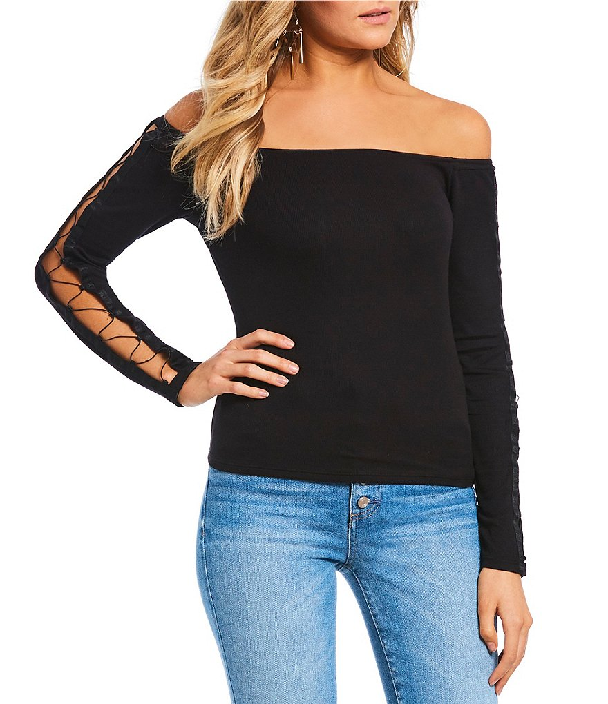Guess Cordelia Lace Up Off The Shoulder Top