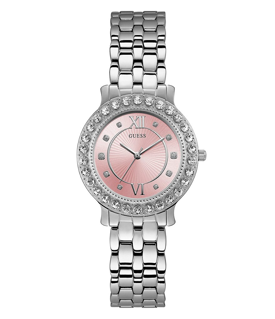 Guess Crystal-Bezel Analog Bracelet Watch