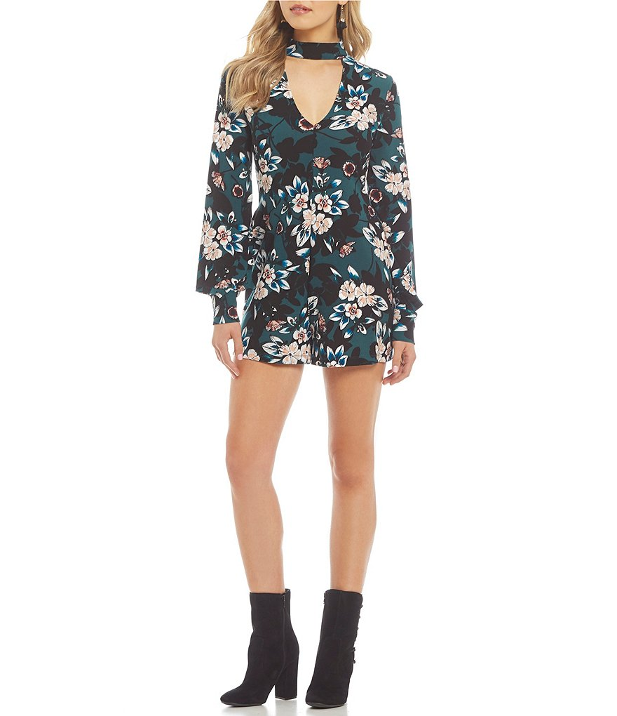 Guess Dora Choker-Neck Floral Printed Romper
