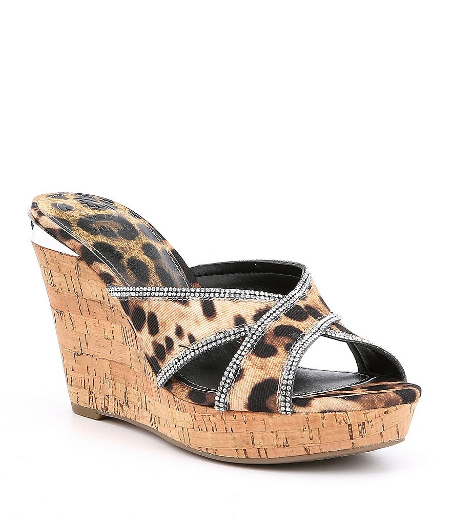 Guess Eleonora 4 Leopard Print Wedge Sandals